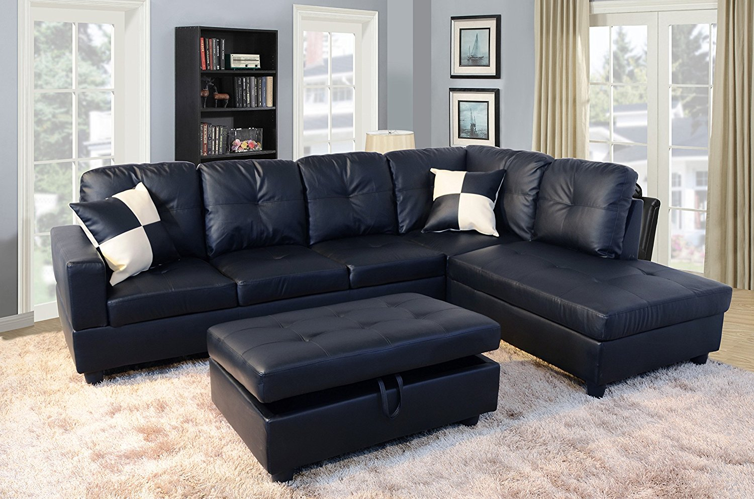 Product Image 3 Piece Faux Leather Contemporary Right Facing Sectional Sofa  Set With Ottoman, 2 Accent