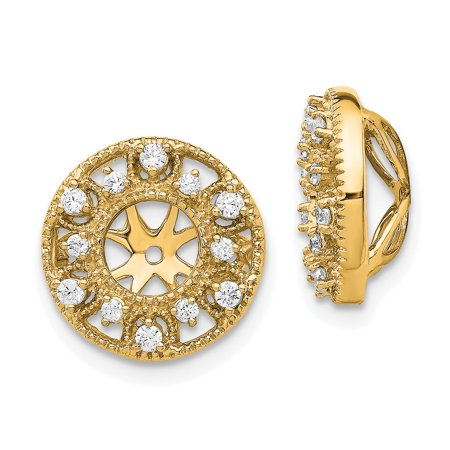 14K Yellow Gold Diamond Round Earring Jackets 5.00 mm Opening for Stud Earrings (Opening Stand)
