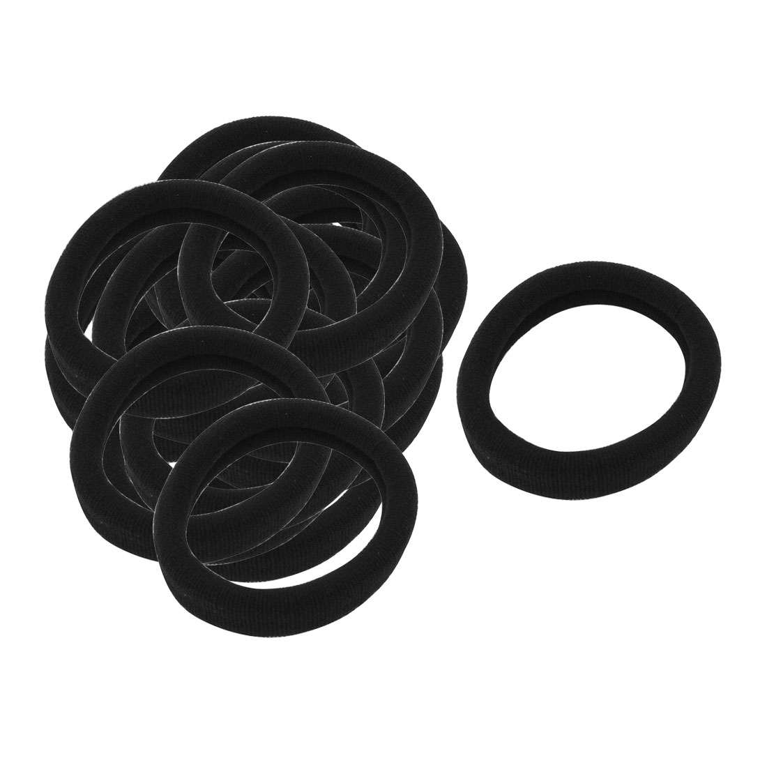 Girls Women Black Stretch Ponytail Holders Hair Ties Bands Decoration 20 Pcs