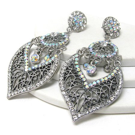 Romantic Vintage Style Filigree Aurora Borealis Crystal Earrings for Evening or Prom