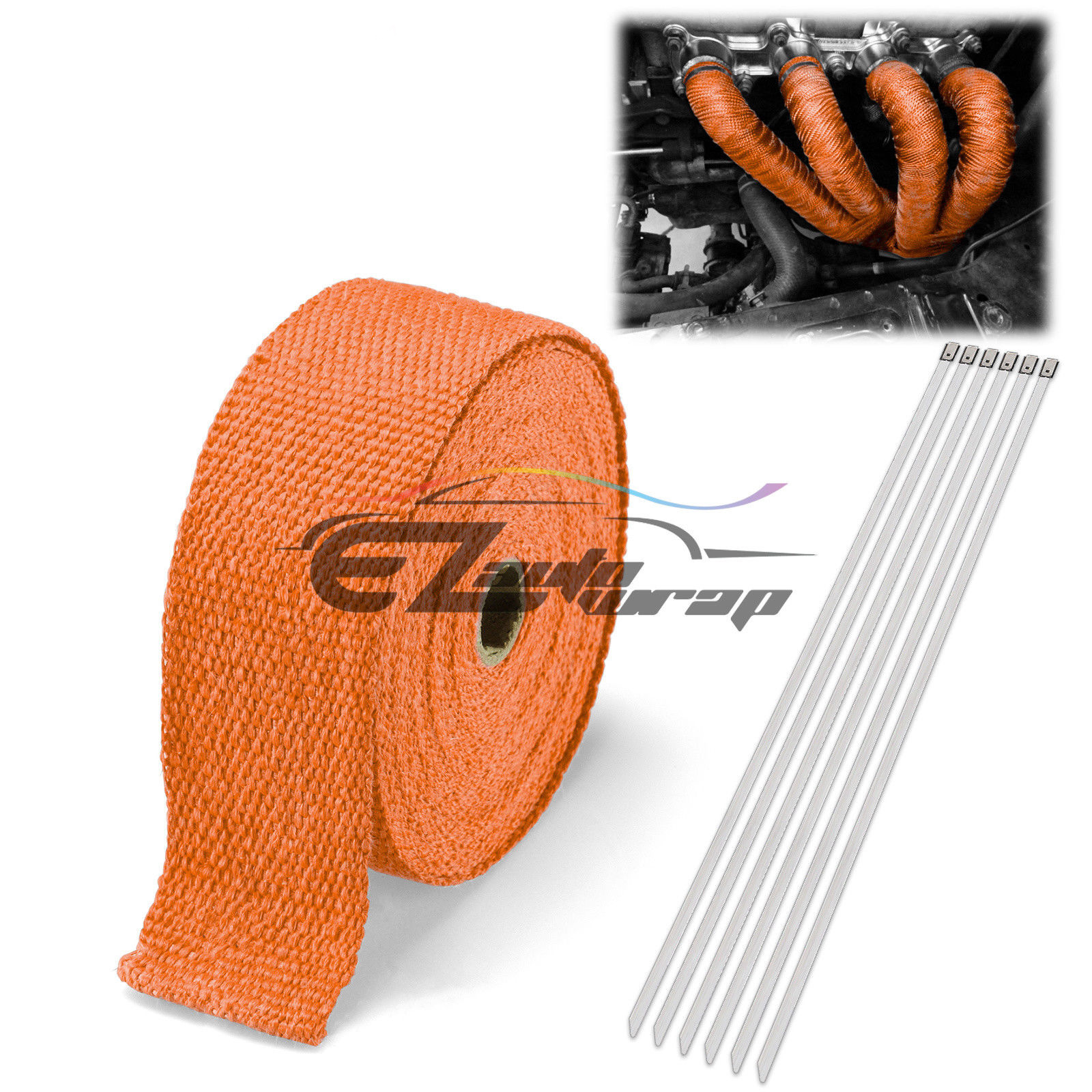 "2"" x 50' Exhaust Pipe Insulation Thermal Heat High Temperature Wrap Motorcycle Header + 6 Tie"