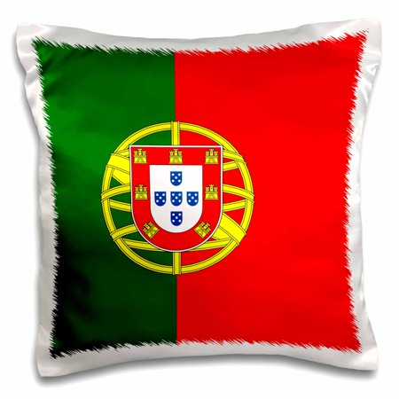 3dRose Flag of Portugal - Portuguese red and green with coat of arms shield - supporter fan country world - Pillow Case, 16 by