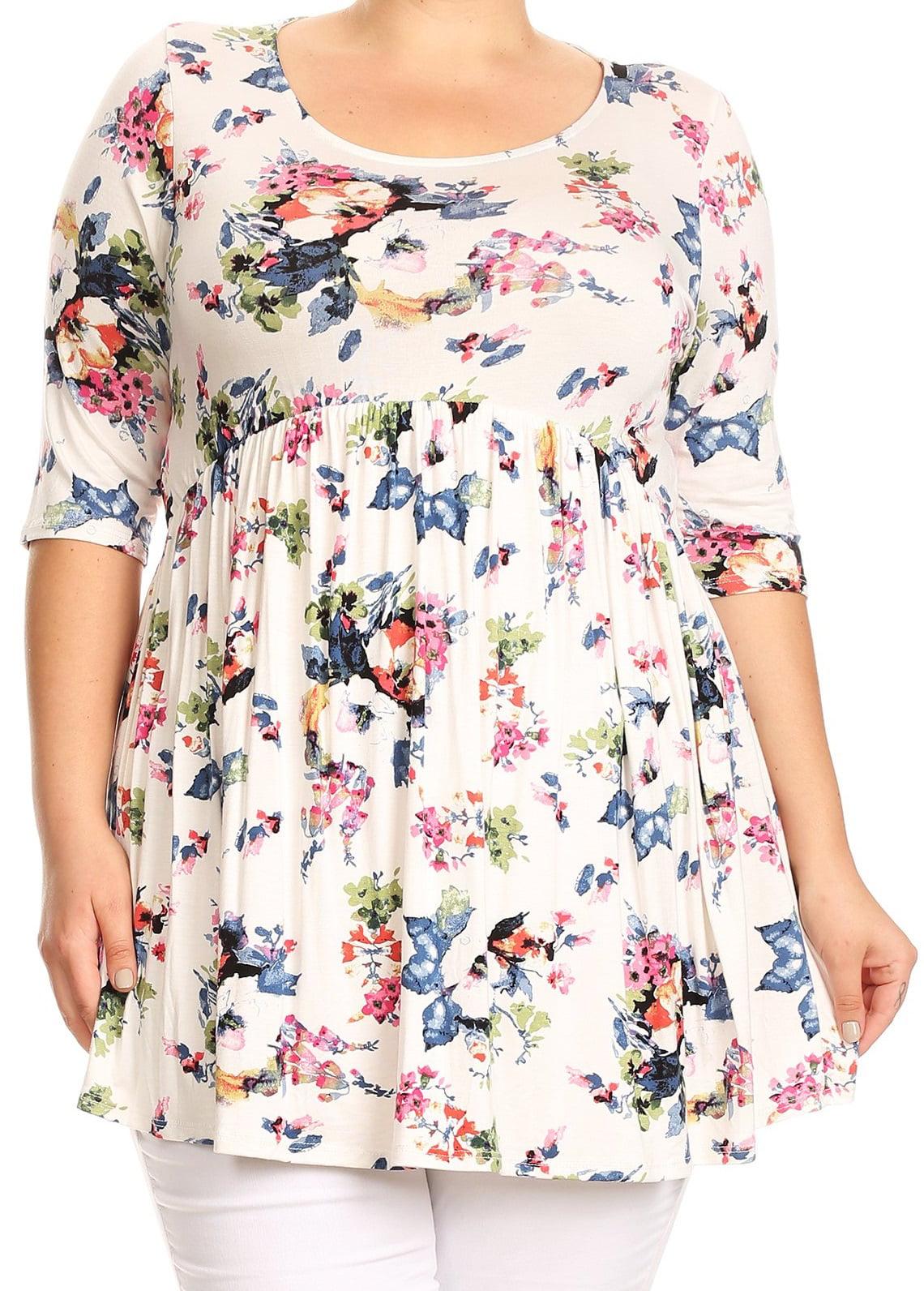 Women Plus Size Short Sleeve Rose Pattern Print Tunic Knit Top Tee White XL B492