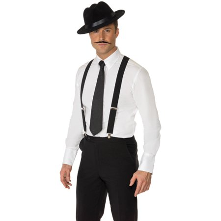Mens Black Suspenders Halloween Costume Accessory