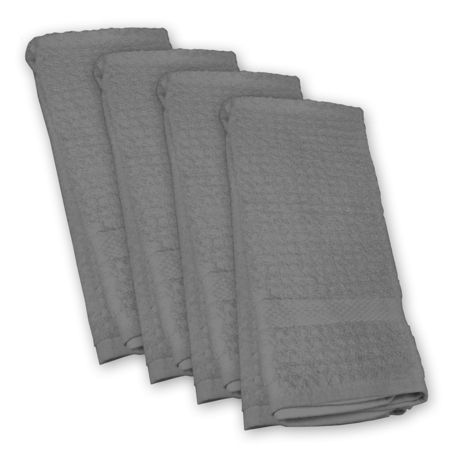 Design Imports Solid Waffle Dishtowel Set (Set of 4), Gray