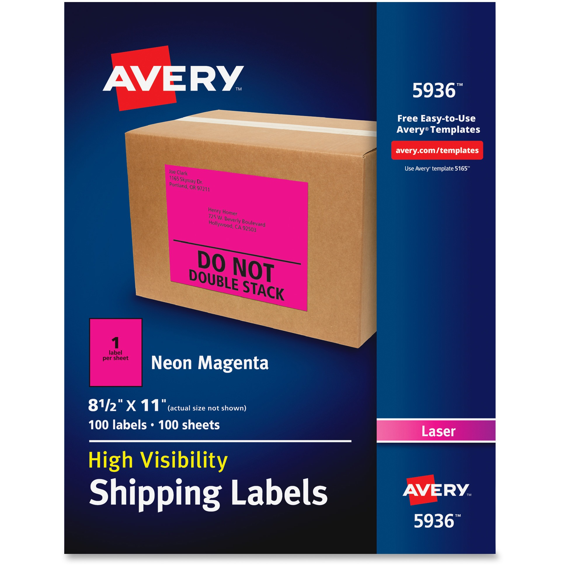 Avery Neon Shipping Label, Laser, 8 1/2 x 11, Neon Magenta, 100/Box