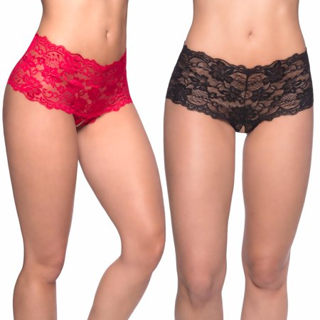 Womens Lace Boyshort Panties- Crotchless Black and Red Floral Strappy Panty Underwear Pack of 2