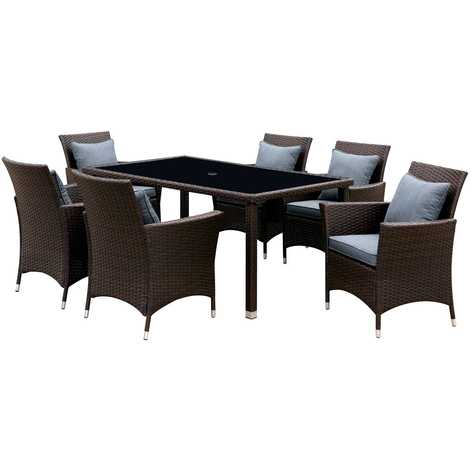 Furniture of America Karrie 7-Piece Patio Dining Room Set, Gray and Espresso by Furniture of America