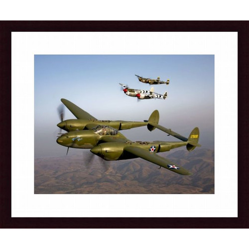 Printfinders Three Lockheed P-38 Lightnings in Flight Photographic Print