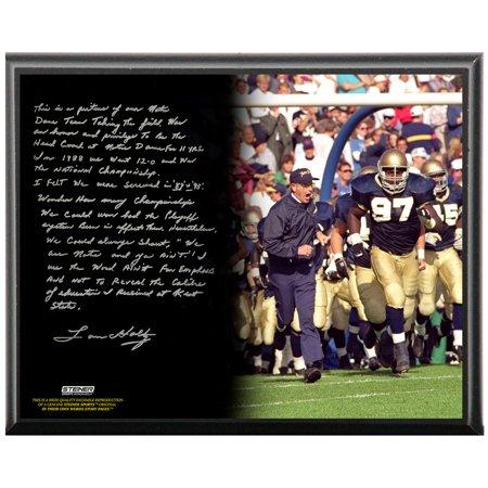 Notre Dame Fighting Irish Lou Holtz Facsimile College Football Playoffs Metallic 8x10 Story Plaque