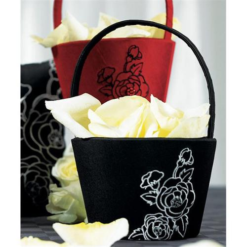 Weddingstar 8684 Silhouettes in Bloom Flower Girl Basket- Jet Black with White