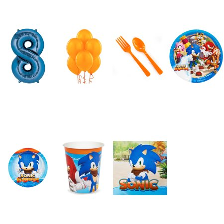 SONIC BOOM SONIC THE HEDGEHOG PARTY SUPPLIES PARTY PACK FOR 32 WITH BLUE #8 BALLOON