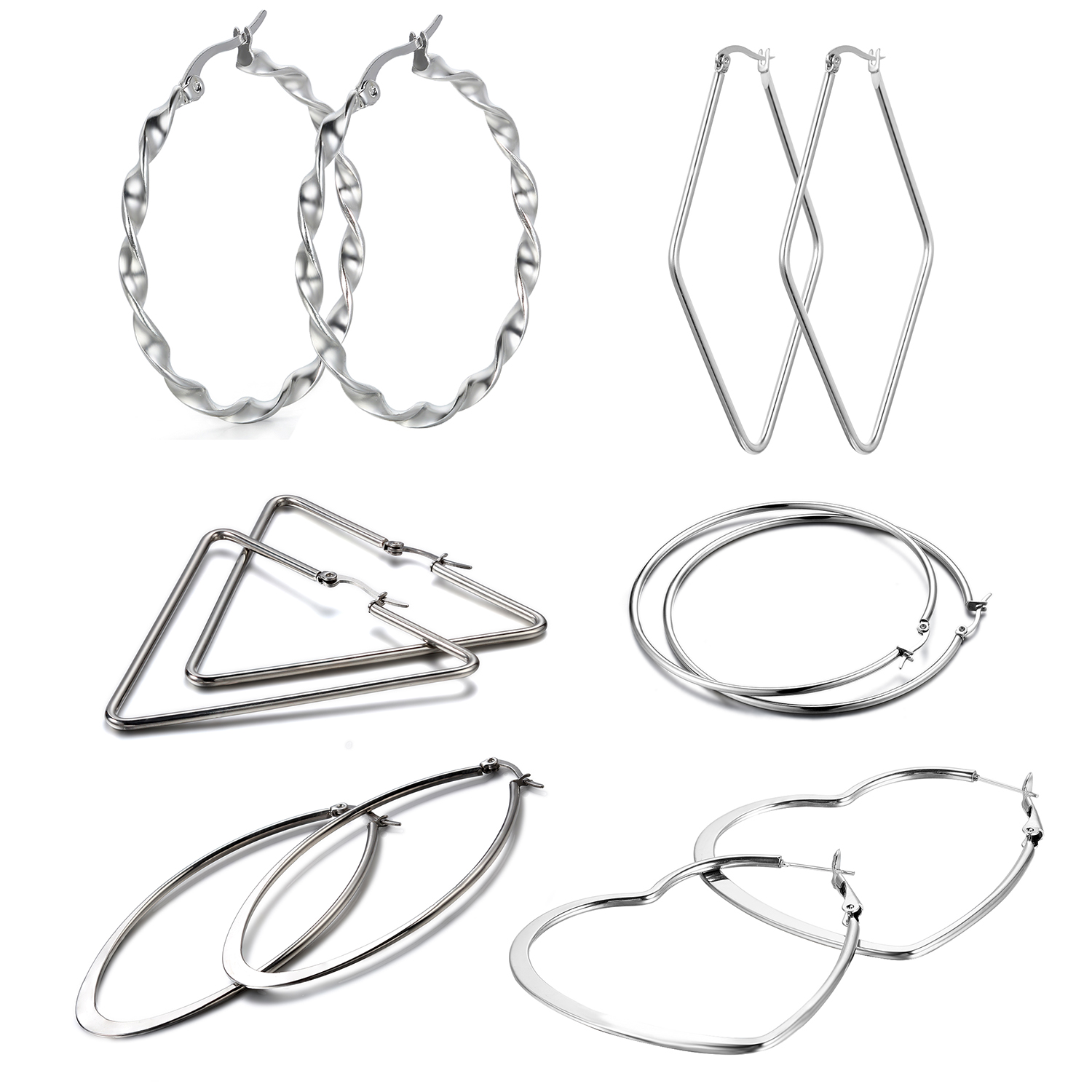 Aroncent 6 Pairs Women Silver Tone Stainless Steel Large Hoop Earrings Gift Set