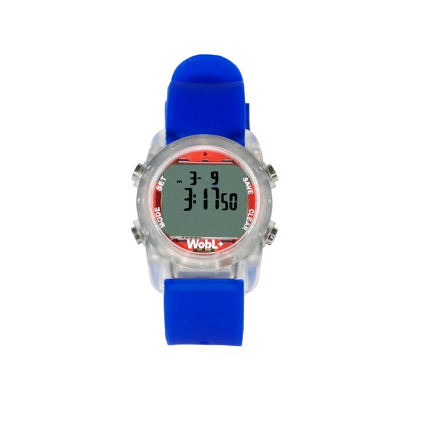 Smallest Vibrating Waterproof Reminder Watch (Blue Band / Transparent Case)