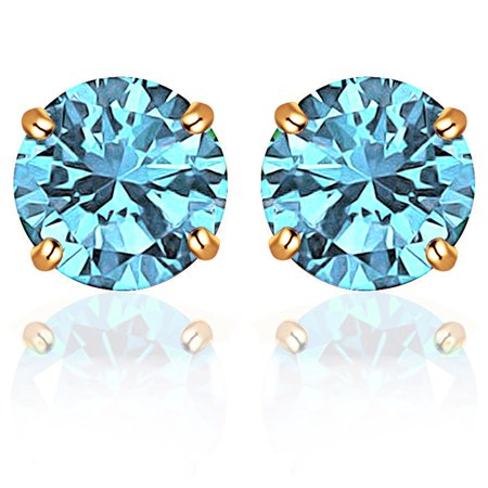 14k Solid Cufflinks - 14k Solid Yellow Gold 5 mm Round-Cut Aquamarine CZ Stud Earrings For Women by Orchid Jewelry