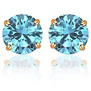 14k Solid Yellow Gold 5 mm Round-Cut Aquamarine CZ Stud Earrings For Women by Orchid Jewelry