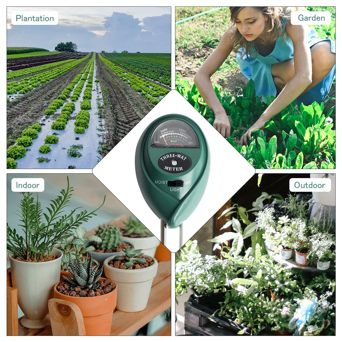 8 Pcs Mini Garden Transplanting Tools Set with 3-in-1 Soil Tester Moisture Kit for PH//Moisture//Light Gardening Hand Tool with Bonsai Tool for Home and Garden Lawn Farm Indoor Outdoor Plants Care