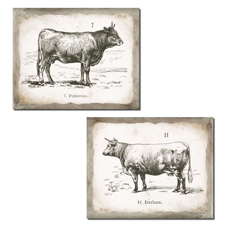 - Lovely Vintage Ephemera French Cow and Bull Set; French Country Decor; Two 14x11in Unframed Paper Posters