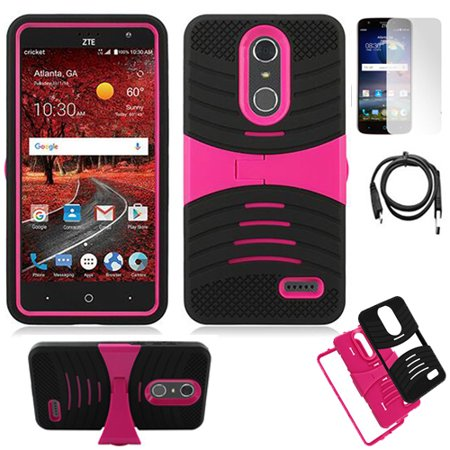 buy popular efd6d e80b5 Phone Case For AT&T PREPAID ZTE Blade Spark / ZTE Grand X 4 Rugged Heavy  Duty Armor Cover Stand ( Armor Pink Stand-Black Skin / USB Charger / Film