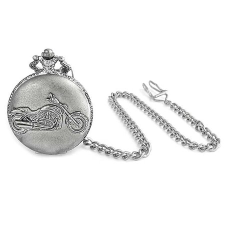 Bling Jewelry Antique Style Motorcycle Biker Mens Pocket Watch Rhodium - Antique Motorcycle Plates