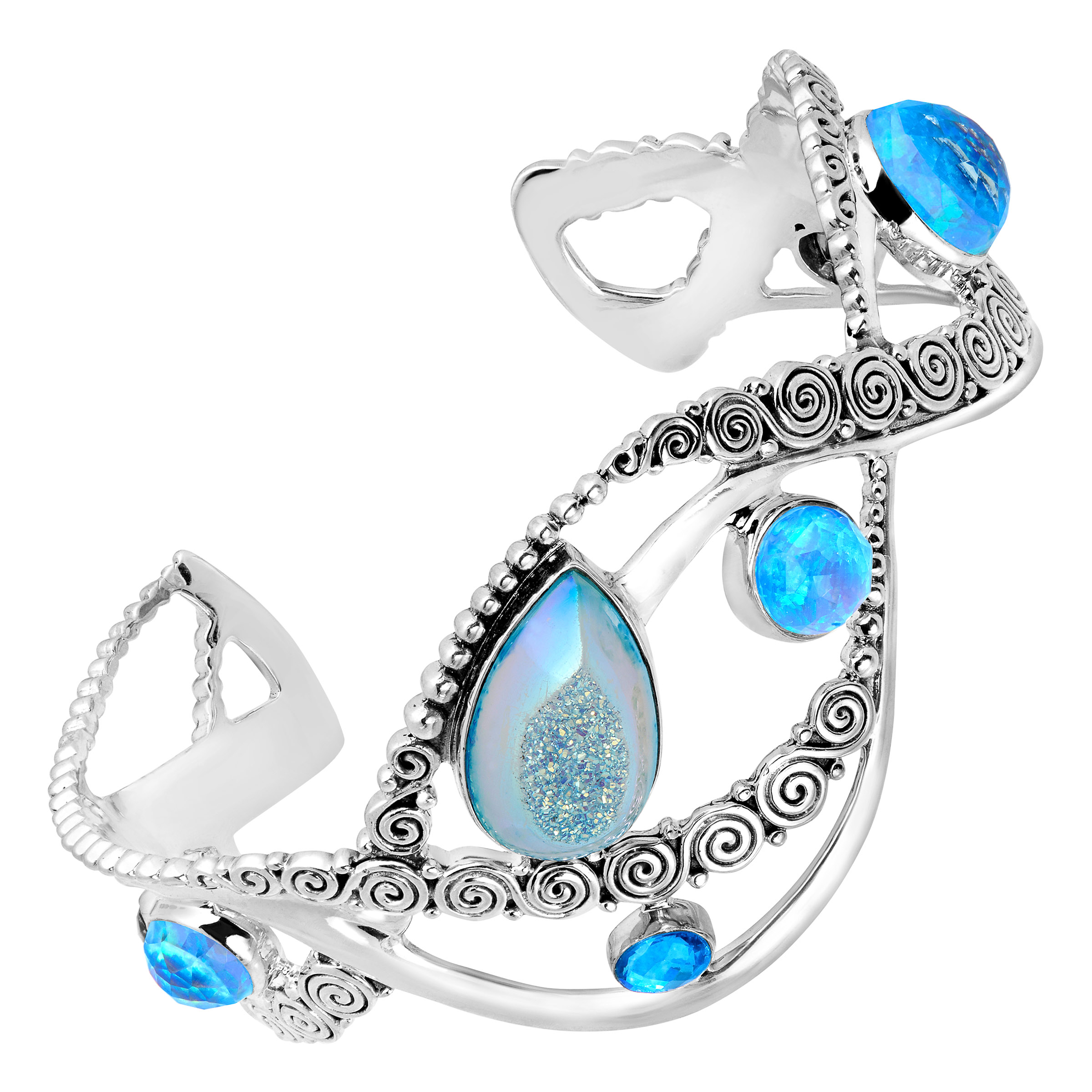 Sajen Natural Pariba Druzy & Blue Opal Doublet Cuff Bracelet in Sterling Silver by Richline Group