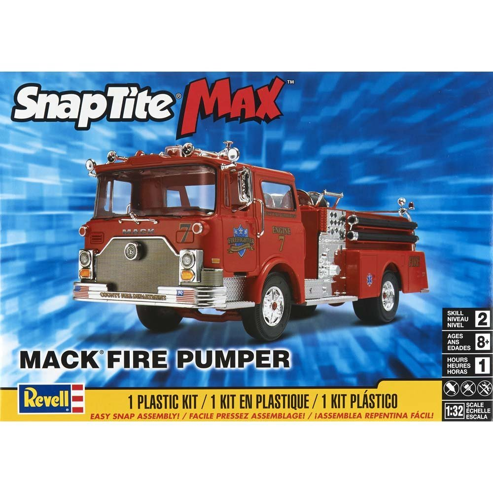 SnapTite Max Mack Fire Pumper Model Kit..., By Revell Ship from US by