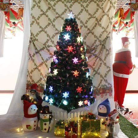 Snowflakes Decorative LED Artificial Fiber Optic Lights Tall Christmas Tree  - Walmart.com - Snowflakes Decorative LED Artificial Fiber Optic Lights Tall