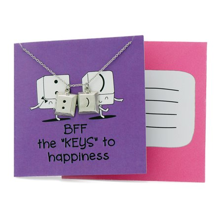 Quan Jewelry Best Friend Necklaces, Funny Puns Quote on Greeting Card, Perfect BFF Gift Idea, Adjustable Stainless Steel chain from 16in to