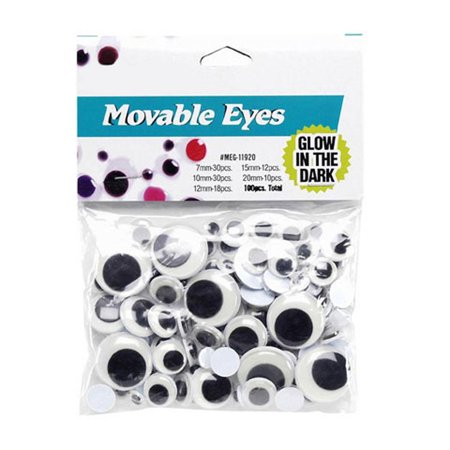 Set of 100 Glow in The Dark Self Adhesive Eyes - Glow In The Dark Eye Glasses