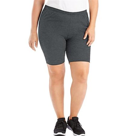 Stretch Cotton Jersey Womens Bike Shorts, Charcoal Heather - Size 16 - image 1 de 1