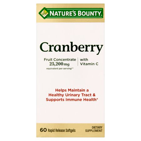Nature's Bounty Cranberry Fruit Concentrate with Vitamin C Softgels, 25,200 Mg, 60 Ct