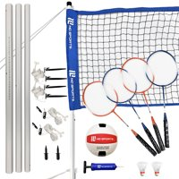 MD Sports Advanced Volleyball and Badminton Combo Set, Quick Setup, 4 rackets and official size volleyball with inflation pump