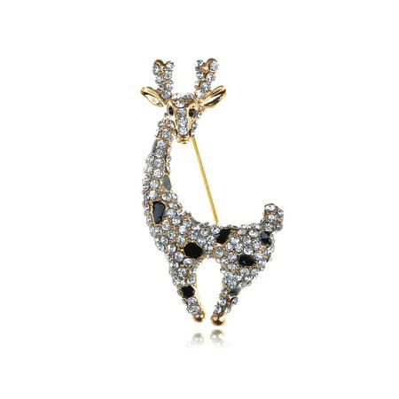 Adorable Cute Clear Crystal Rhinestone Gold Tone Deer Doe Animal Pin Brooch Napier Gold Tone Brooch
