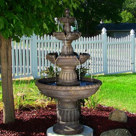 Mosaic Mediterranean Fountain (Sunnydaze Mediterranean 4-Tiered Outdoor Garden Water Fountain, 49 Inch Tall )