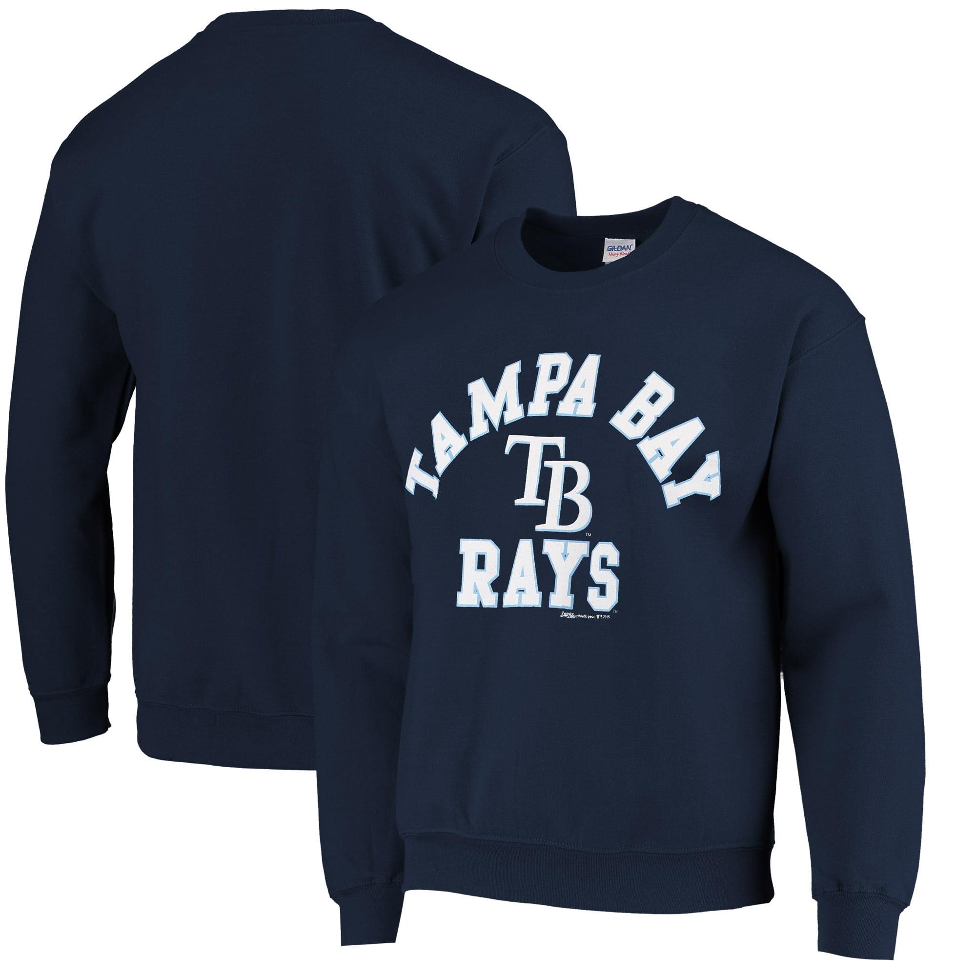 Stitches Tampa Bay Rays Warning Track Crewneck Sweatshirt - Navy Blue