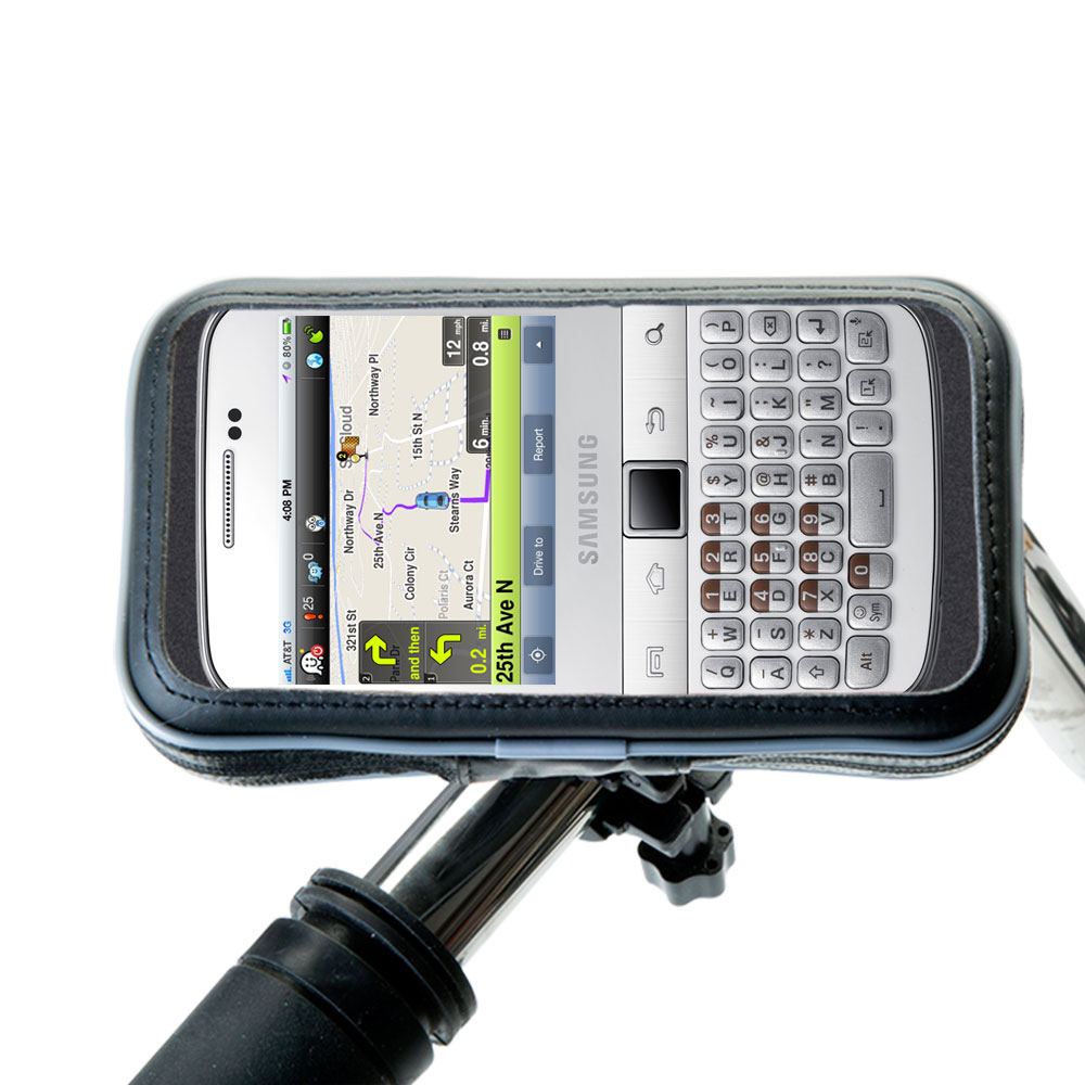 Heavy Duty Weather Resistant Bicycle / Motorcycle Handlebar Mount Holder Designed for the Samsung Galaxy Y Pro