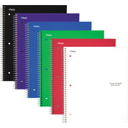 """Five Star Wirebound Notebook, 1 Subject, Wide Ruled, 10 1/2"""" x 8"""", Assorted, 6 Pack (38042)"""