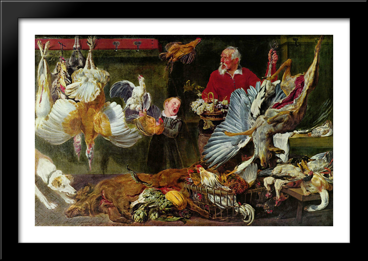 Venison dealers 40x28 Large Black Wood Framed Print Art by Frans Snyders by FrameToWall