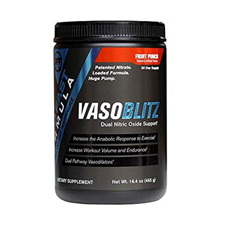 VASOBLITZ Nitric Oxide Pre Workout Supplement Powder with L-Citrulline, Betaine Anhydrous, Arginine NO3T, Calcium Lactate & Caffeine Free for Endurance & Muscle