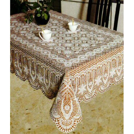 Tablecloths  Vinyl Crochet  White  54X54 Inches Square