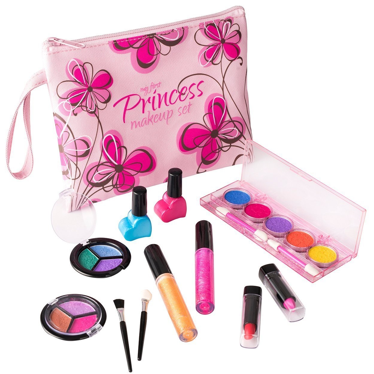 My First Princess Washable Real Makeup Set, with Designer Floral Cosmetic Bag.