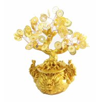 Feng Shui Gold Coins Money Tree in Dragon Pot Wealth Blessing Gift -D13455