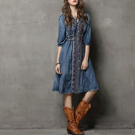 Retro Fashion Women (Women Fashion Embroidered Denim Dress Drawstring Retro Dress)
