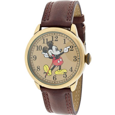 Women's Mickey Mouse Molded-Hands Vintage Brown Watch, Simulated-Leather Strap](Vintage Witch)