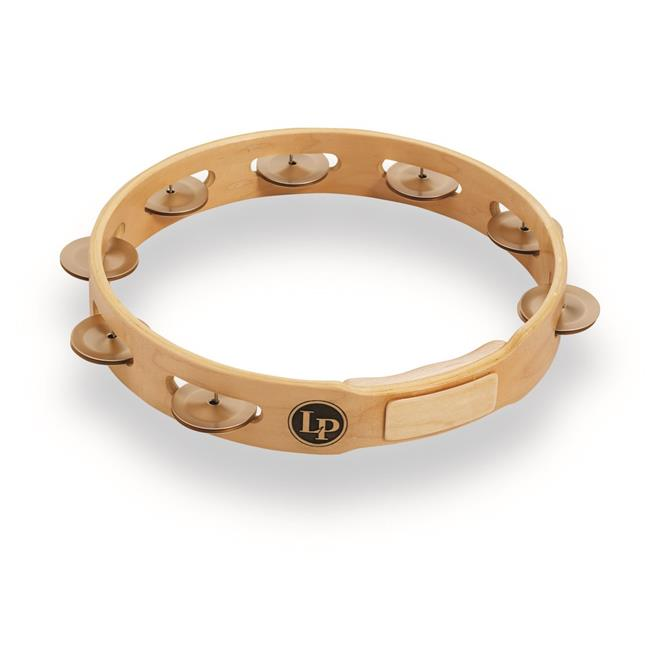 """lp accent 10"""" single row wood tambourine with aluminum jingles lp381-a"""