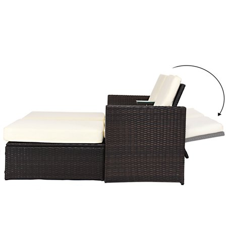 Double Lying Bed Chaise Lounge Chair Set Garden Rattan Wicker Outdoor Love Seat - image 4 of 7