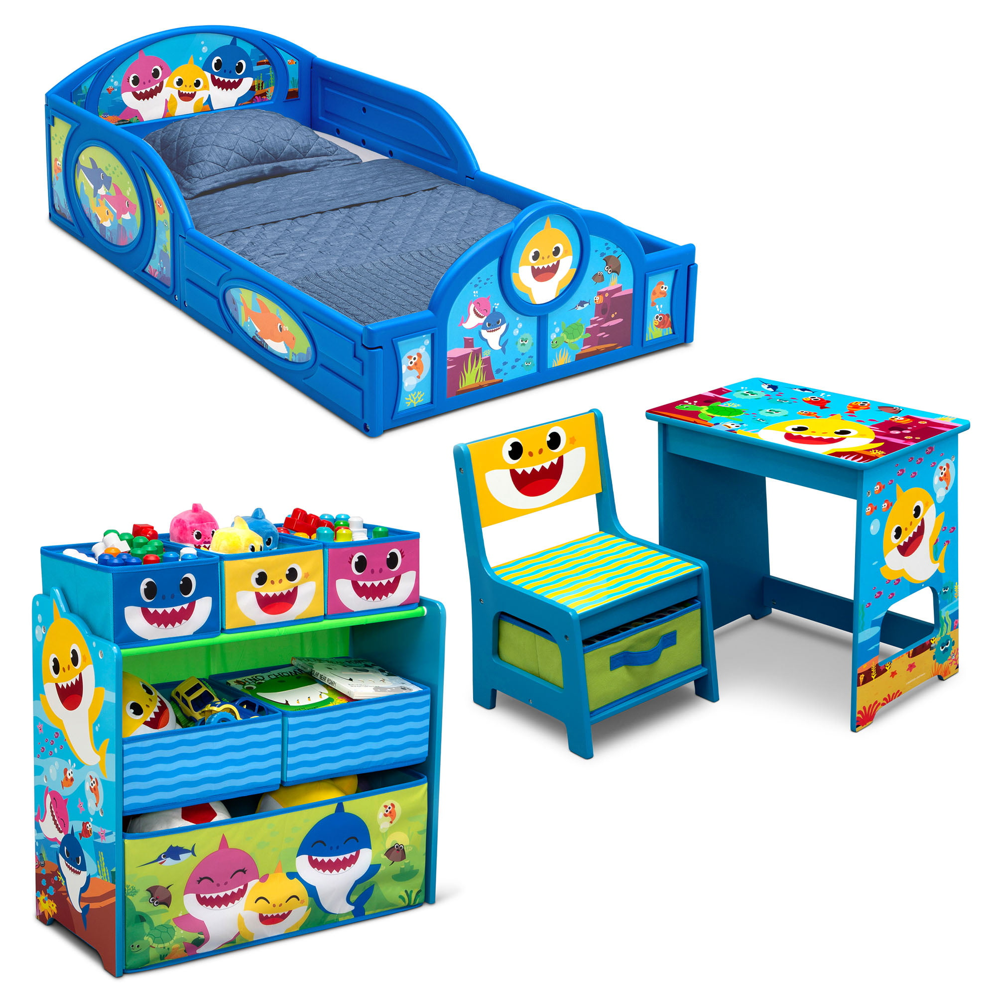 Baby Shark Tour 4 Piece Room In A Box Bedroom Set By Delta Children Includes Sleep Play Toddler Bed 6 Bin Design Store Toy Organizer And Desk With Chair Walmart Com Walmart Com