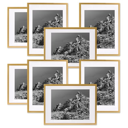 Koyal Wholesale Gold Gallery Wall Frames with White Mats, 4 x 6 Picture Frame Sets, Bulk 8-Pack, Vertical or Horizontal