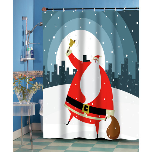 """Santa in the City"" Fabric Shower Curtain"