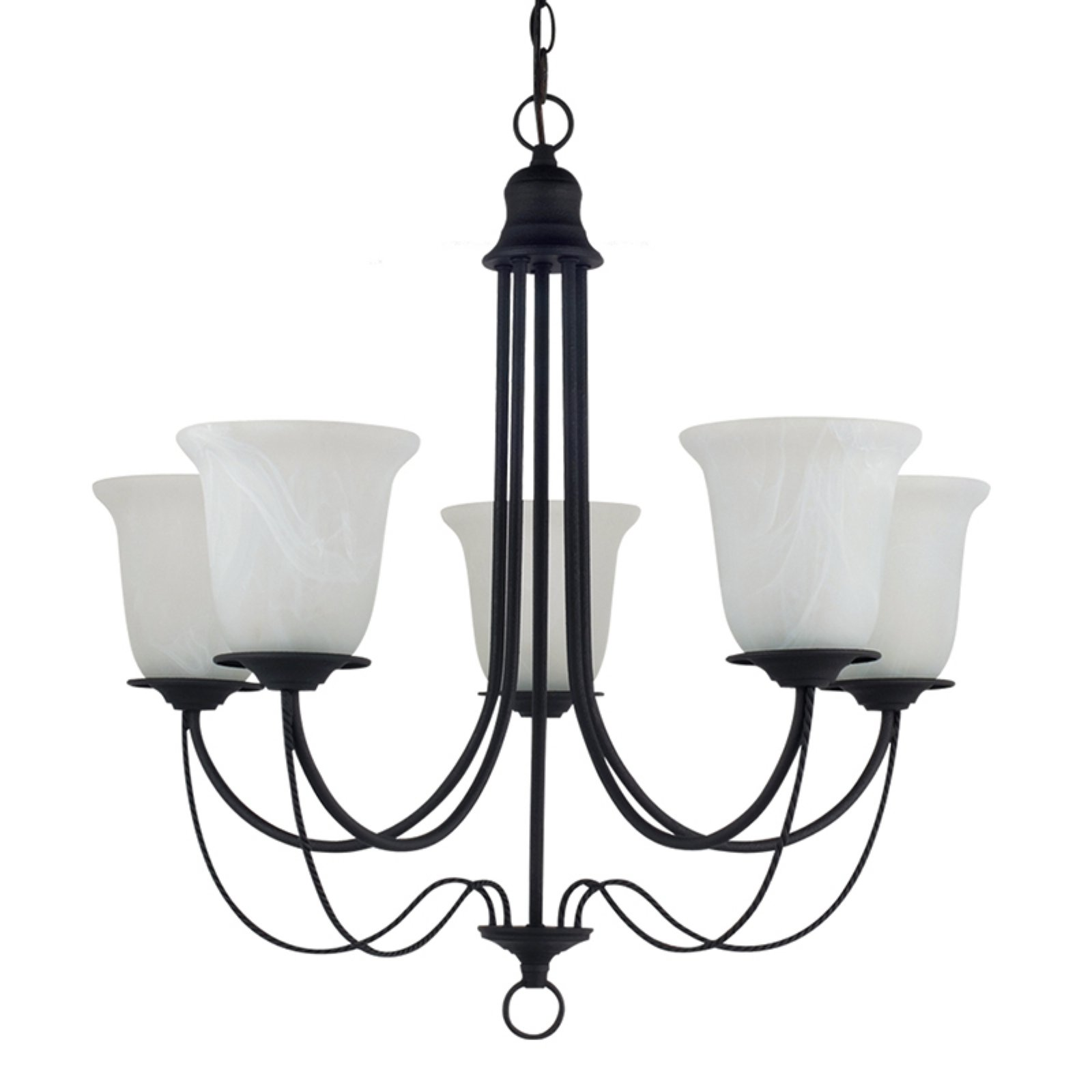 Sea Gull Lighting Plymouth 5-Light Chandelier - 26W in. Blacksmith